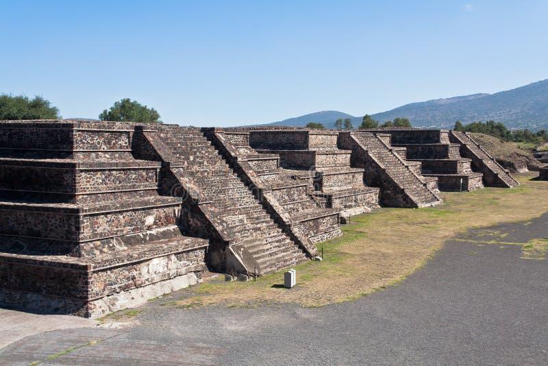 Tempie Messico della piramide di Teotihuacan fotografie stock libere da diritti