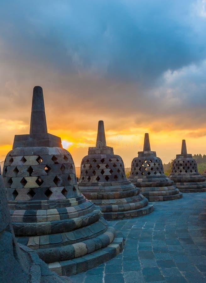 Tempio ad alba, Java, Indonesia di Borobudur immagine stock libera da diritti