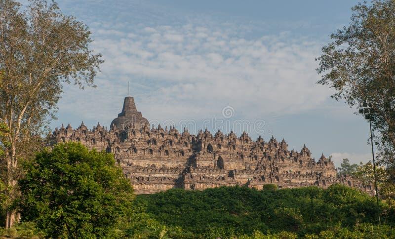 Tempio ad alba, Java, Indonesia di Borobudur fotografie stock libere da diritti