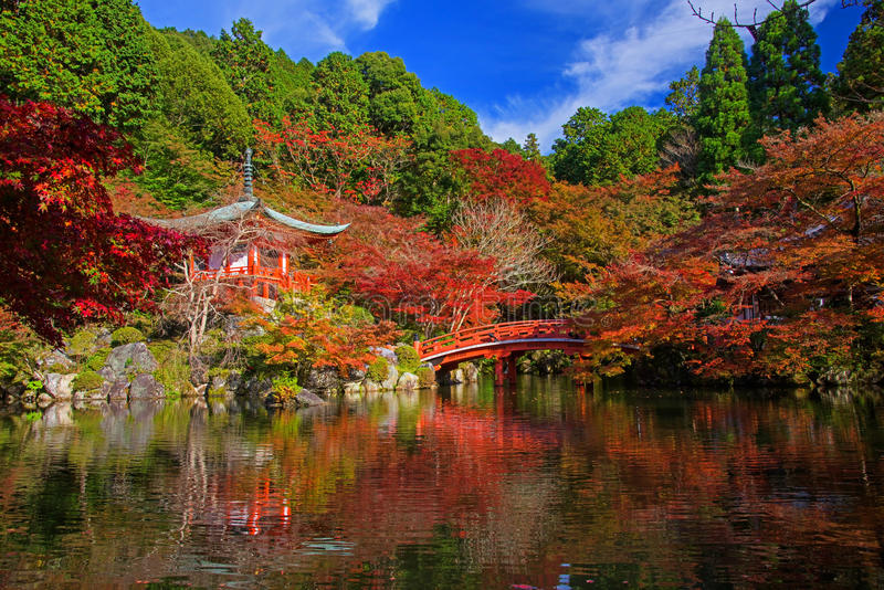 Tempio all'autunno, Kyoto di Daigoji immagine stock