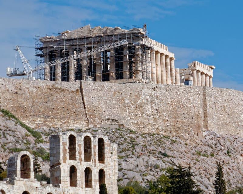 Tempio antico del Partenone sulla collina dell'acropoli, Atene Grecia fotografie stock libere da diritti