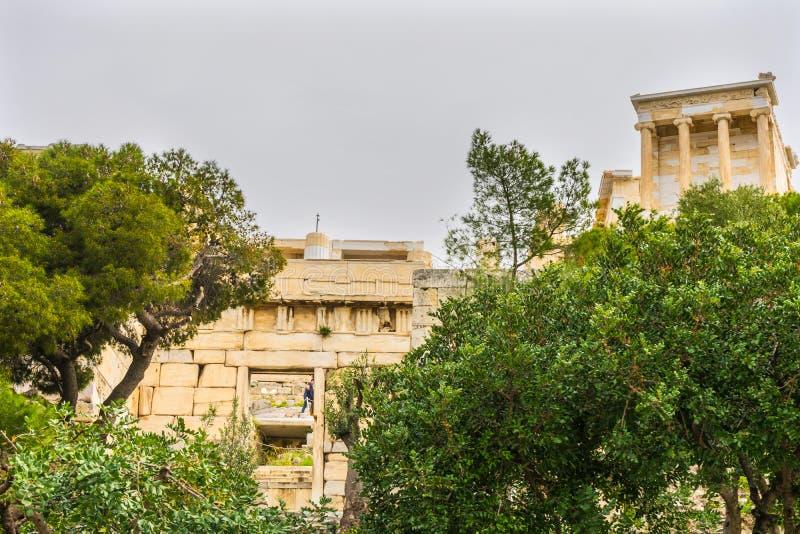 Tempio Athena Nike Propylaea Ancient Entrance Acropolis Atene G fotografia stock