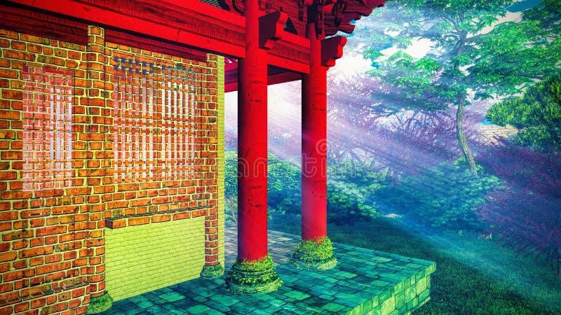 Tempio buddista in legno immagini stock libere da diritti