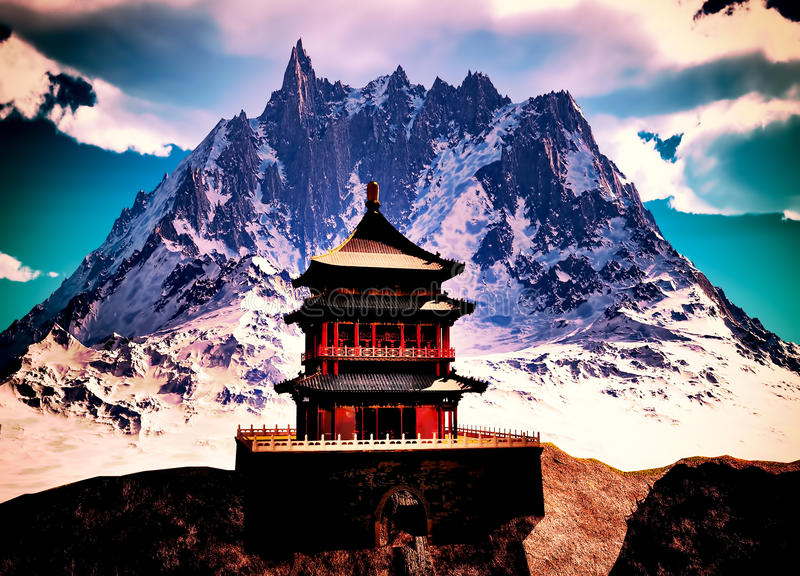 Tempio buddista in montagne fotografie stock