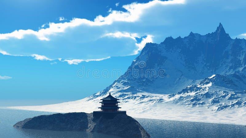Tempio buddista nella rappresentazione delle montagne rocciose 3d fotografie stock libere da diritti
