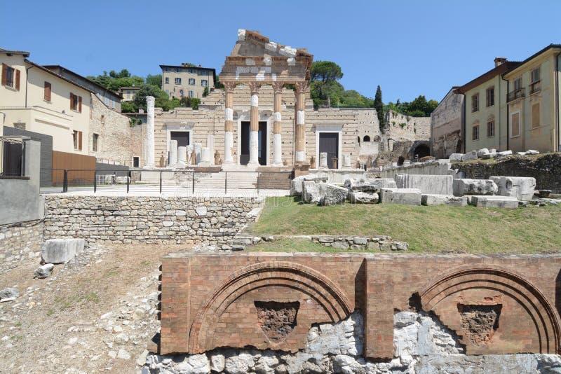 Tempio Capitolino situato a Brescia i immagine stock