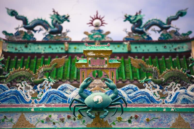 Tempio cinese al paesino di pescatori cinese in Pulau Ketam vicino a Klang Selangor Malesia fotografia stock libera da diritti