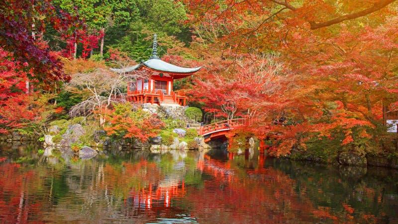Tempio con colore di autunno, Kyoto di Daigo-ji immagini stock
