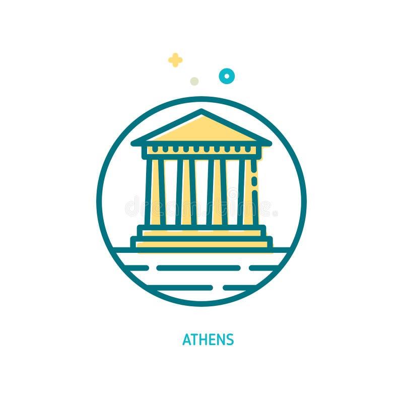 Tempio del Partenone sull'icona dell'acropoli illustrazione vettoriale