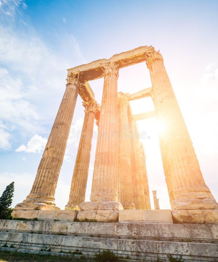 Tempio dell'olimpionico Zeus a Atene immagine stock libera da diritti