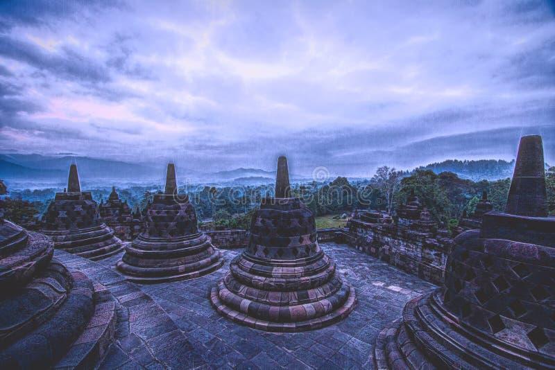 Tempio di Borobudhur - Yogyakarta - Indonesia, Unesco immagini stock libere da diritti