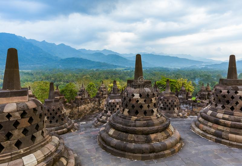 Tempio di Borobudur Buddist in isola Java Indonesia fotografia stock libera da diritti