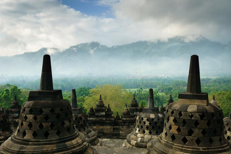Tempio di Borobudur a Yogyakarta, Java, Indonesia fotografia stock libera da diritti