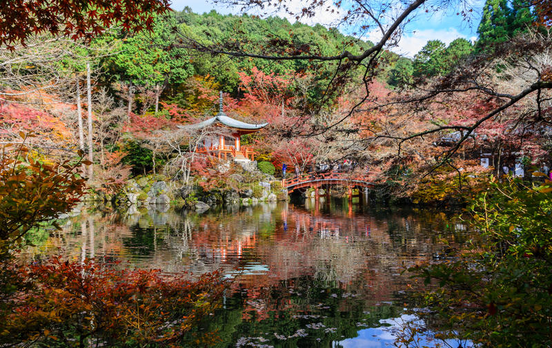 Tempio di Daigo-ji con colore degli alberi di acero, Giappone di autunno fotografie stock