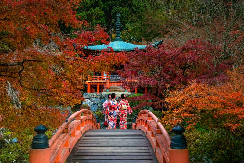 Tempio di Daigo-ji con gli alberi di acero variopinti in autunno, Kyoto immagine stock