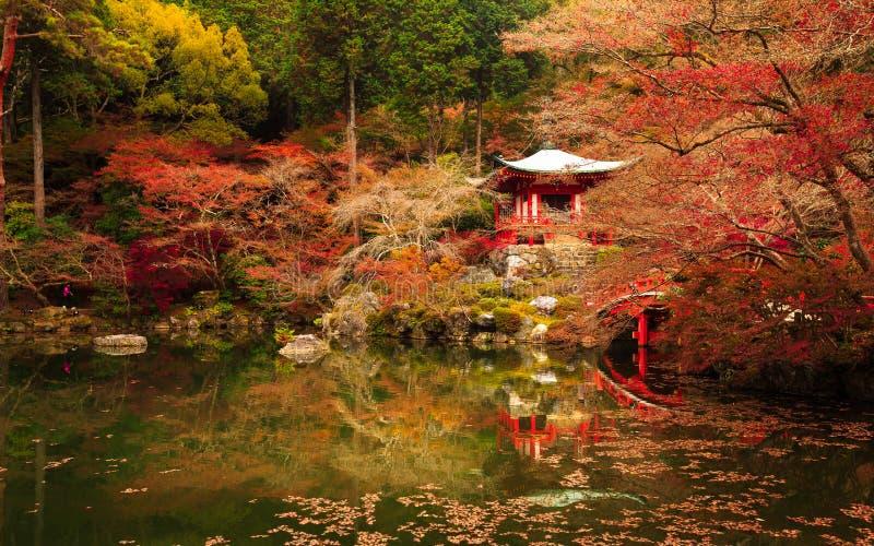 Tempio di Daigoji, autunno di Kyoto nel Giappone fotografia stock libera da diritti