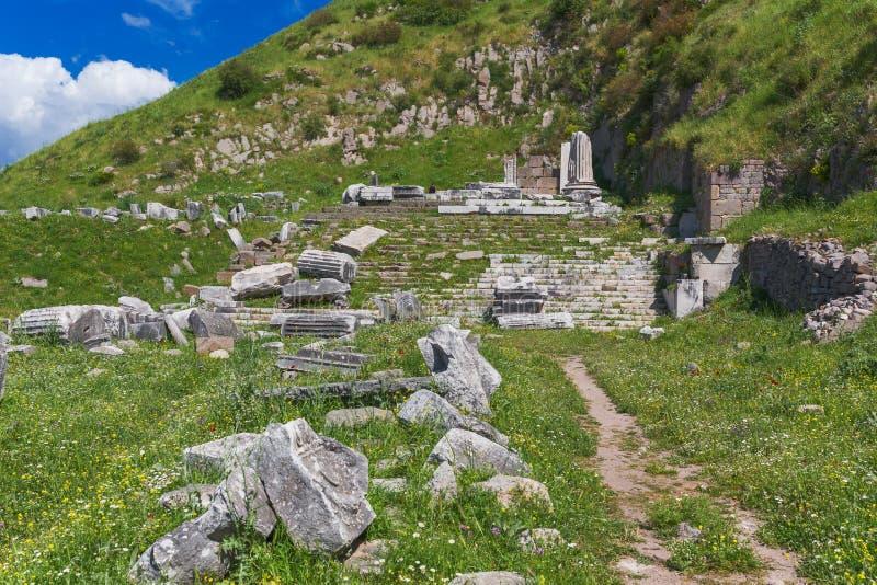 Tempio di Dionysus Pergamon Bergama Turchia fotografia stock