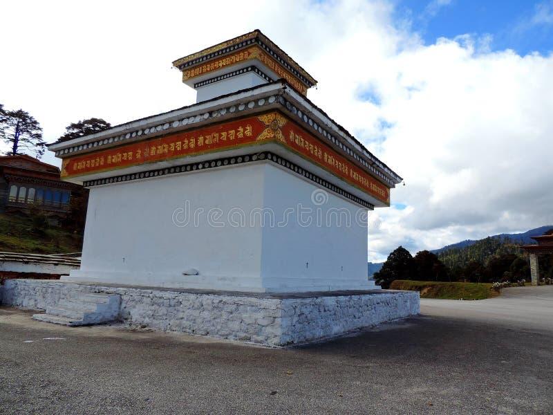 Tempio di Druk Wangyal al passaggio di Dochula, Bhutan fotografia stock libera da diritti