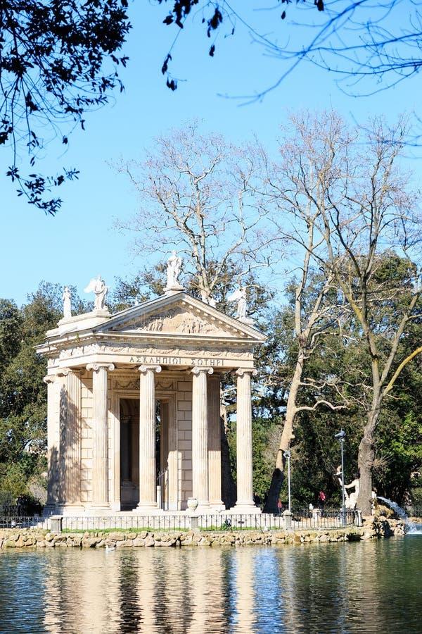 Tempio di Esculapio borghese villa italy rome arkivfoto