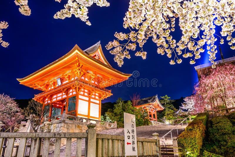Tempio di Kyoto alla notte in primavera immagine stock
