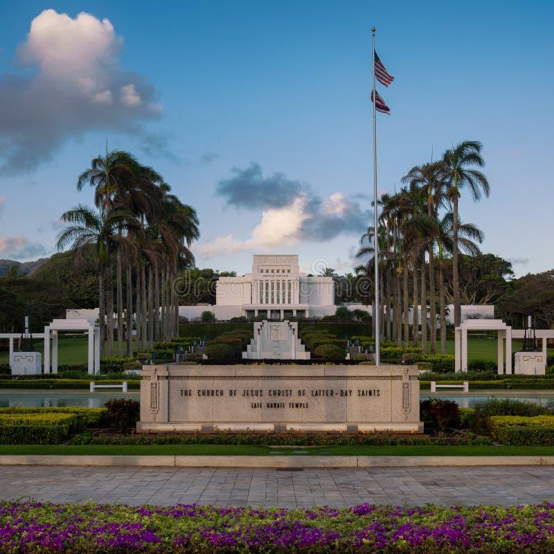 Tempio di Laie Hawai fotografia stock