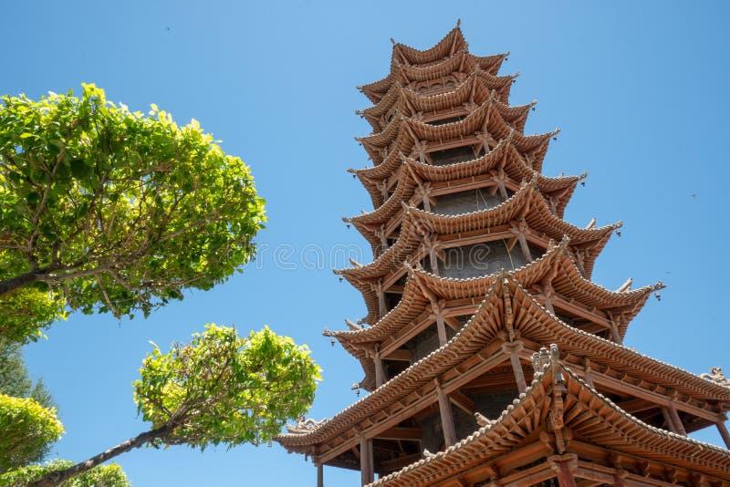 Tempio di legno della pagoda in Zhangye, Cina fotografia stock libera da diritti