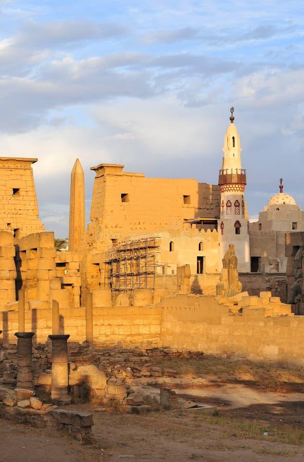 Tempio di Luxor, Egitto al tramonto fotografia stock libera da diritti