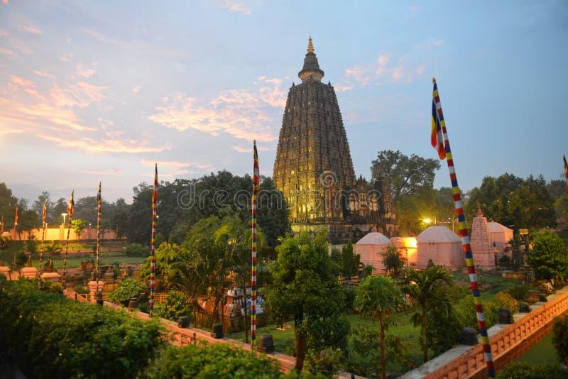 Tempio di Mahabodhi, gaya di fico delle indie orientali, India fotografie stock