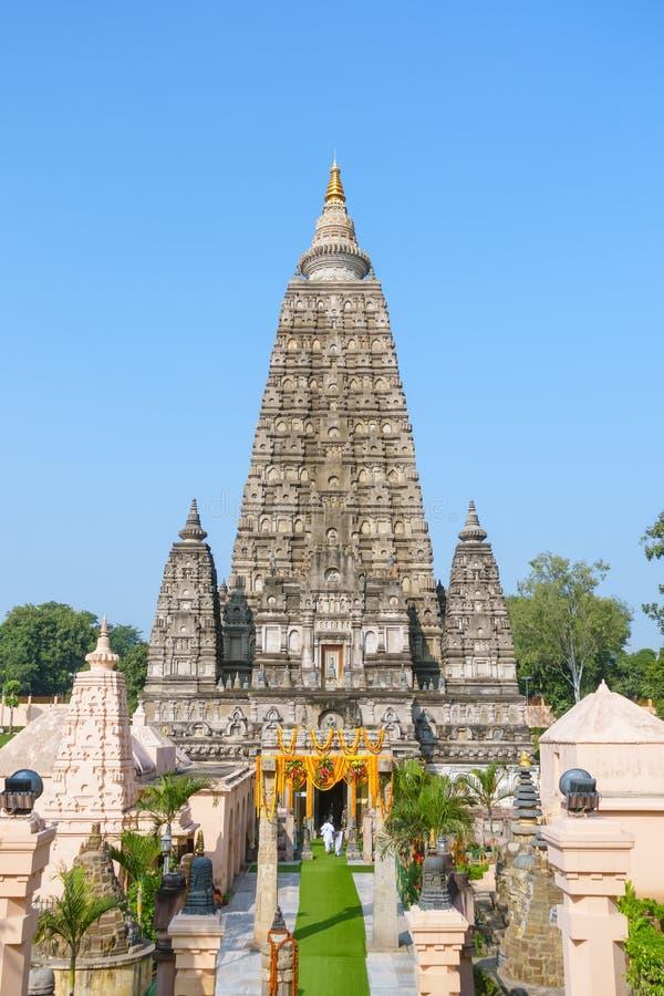 Tempio di Mahabodhi, gaya di fico delle indie orientali, India Il sito in cui Gautam Buddha ha raggiunto il chiarimento fotografia stock libera da diritti