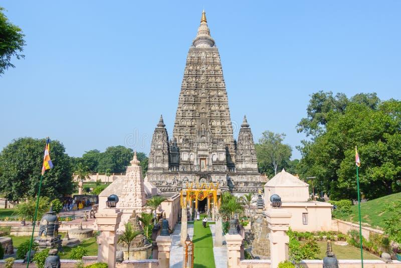 Tempio di Mahabodhi, gaya di fico delle indie orientali, India Il sito in cui Gautam Buddha ha raggiunto il chiarimento immagini stock libere da diritti