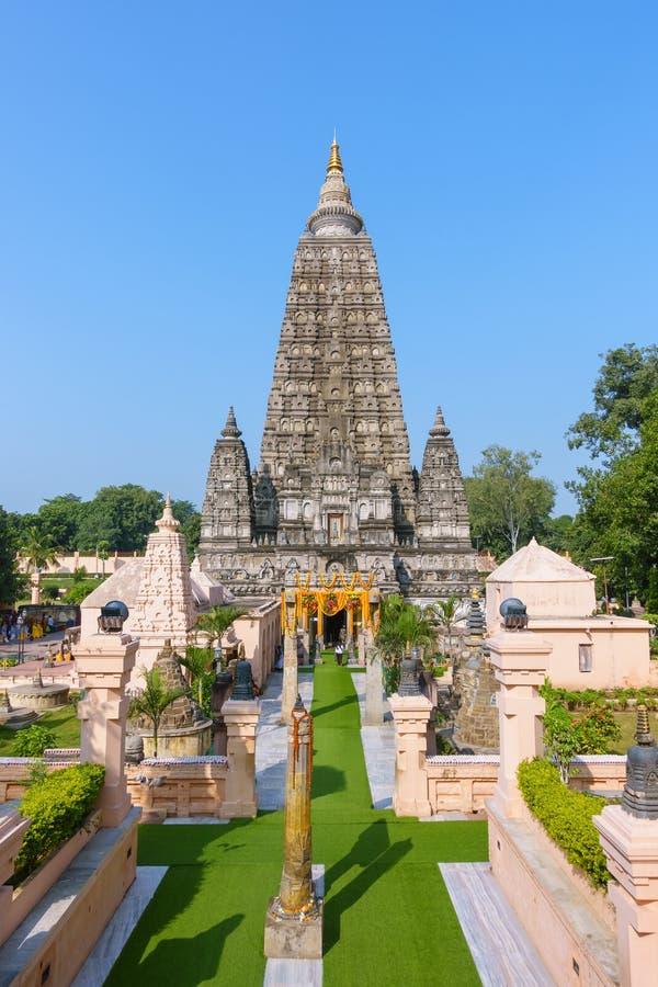 Tempio di Mahabodhi, gaya di fico delle indie orientali, India Il sito in cui Gautam Buddha ha raggiunto il chiarimento immagine stock libera da diritti
