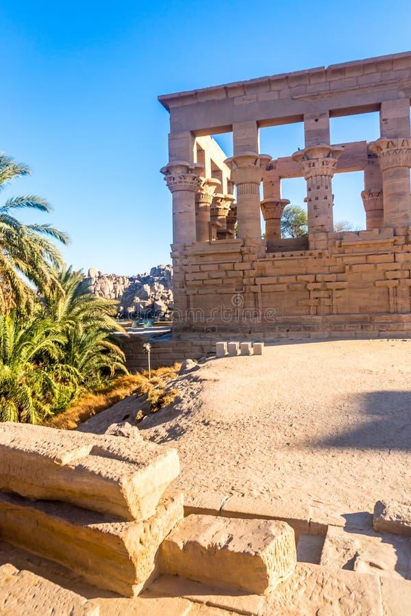 Tempio di Philae a Assuan sul Nilo nell'Egitto fotografia stock