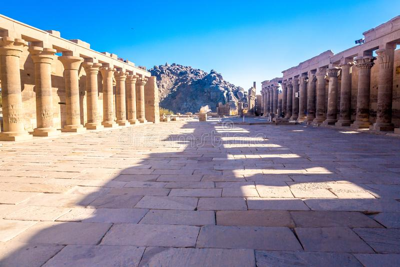 Tempio di Philae a Assuan sul Nilo nell'Egitto fotografia stock libera da diritti