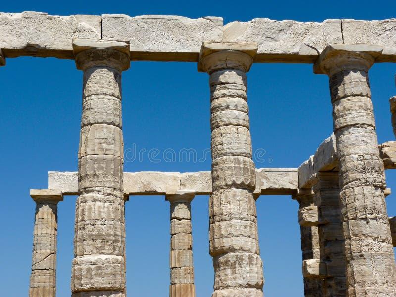 Tempio di Poseidon-Nettuno in Sounio Grecia immagini stock