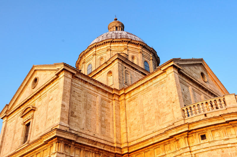 Tempio di San Biagio 4 - Montepulciano. The sunlit dome of the church of San Biagio outside Montepulciano in Tuscany, Italy royalty free stock images