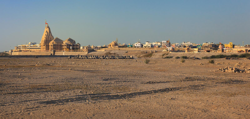 Tempio di Somnath al tramonto immagine stock