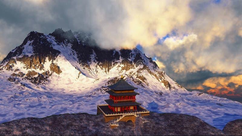 Tempio di Sun - santuario buddista nella rappresentazione dell'Himalaya 3d immagine stock