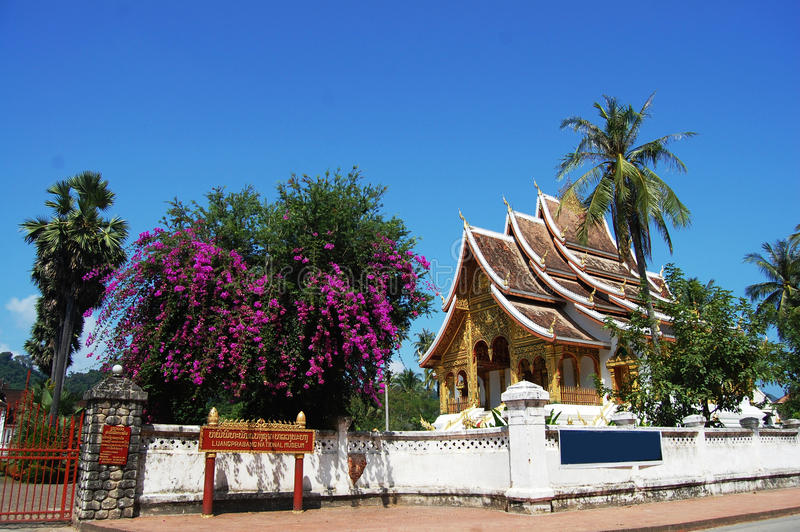 Tempio di Xiengthong nella città di Luang Prabang a Loas immagini stock libere da diritti