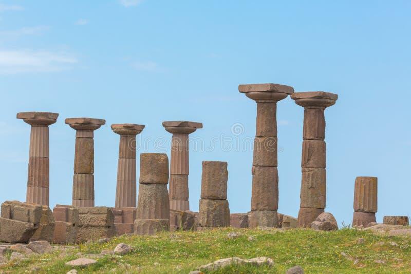 Tempio dorico di Atena, Asso, provincia di Canakkale, Turchia fotografie stock libere da diritti