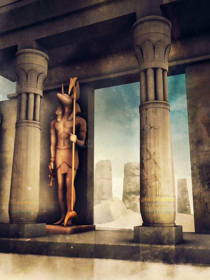Tempio egiziano antico con Anubis illustrazione di stock