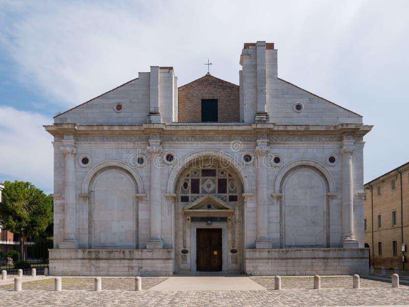 Tempio Malatestiano meaning Malatesta Temple unfinished cathedral church named for St Francis. Rimini stock photo