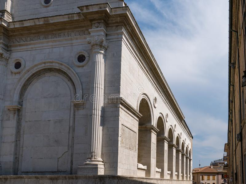 Tempio Malatestiano meaning Malatesta Temple unfinished cathedral church named for St Francis. Rimini royalty free stock photos