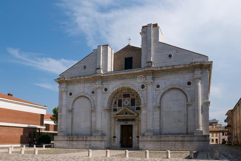 Tempio Malatestiano meaning Malatesta Temple unfinished cathedral church named for St Francis. Rimini stock photos