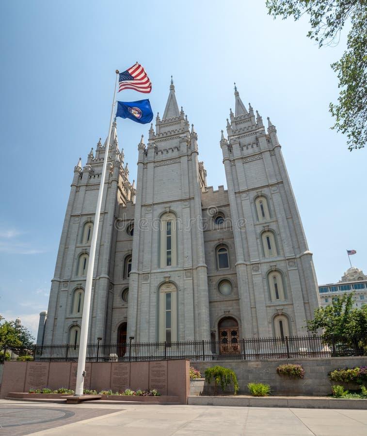 Tempio mormonico di Salt Lake della chiesa di Jesus Christ dei san dei giorni nostri sul quadrato del tempio la città, Utah immagini stock