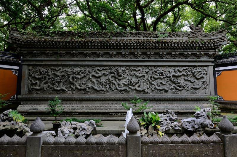 Tempio nove Dragon Wall di Faru fotografia stock libera da diritti