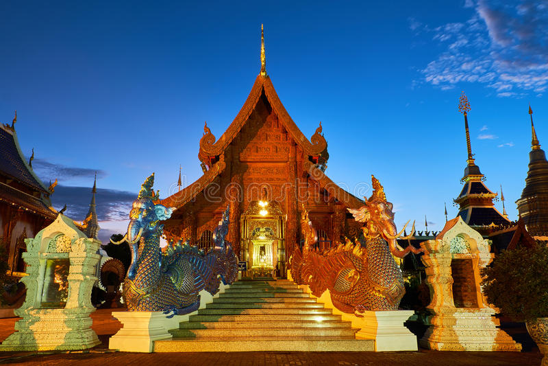 Tempio o Wat Den Salee Sri Muangkaen della tana di Wat Ban in Chiang Mai immagine stock libera da diritti