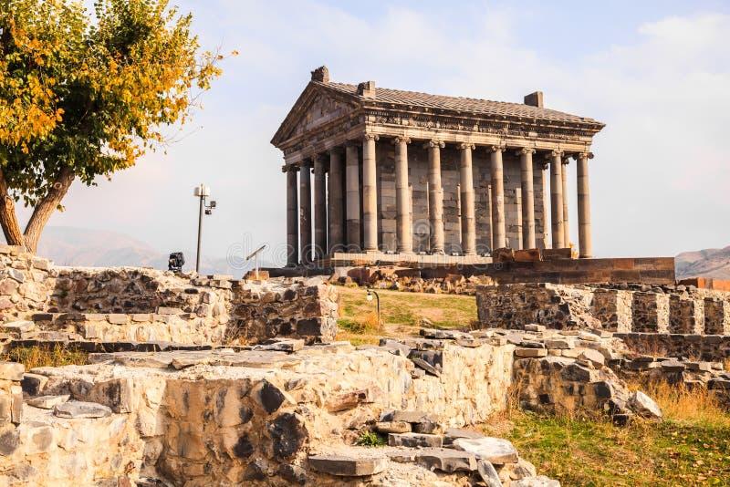 Tempio pagano di Garni in Armenia immagine stock