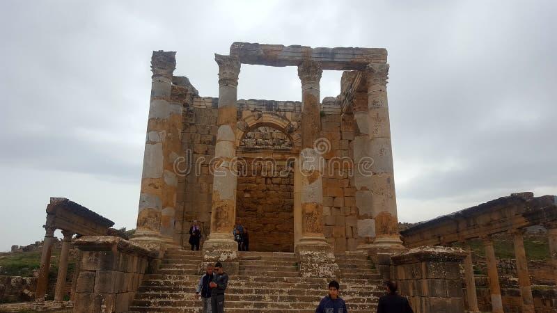 Tempio Septimien, ruin& x27; s di Djemila fotografia stock libera da diritti