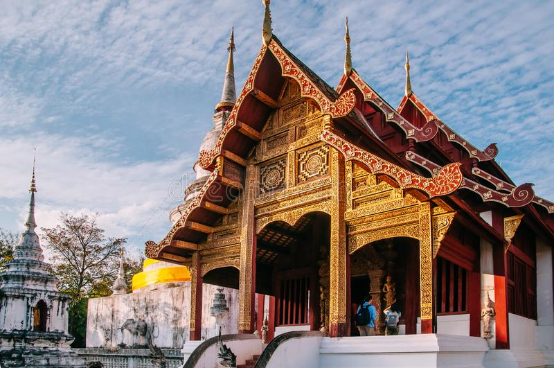 Tempio Viharn Lai Kam Wat Phra Singh, landma antico di Phra Singh fotografia stock
