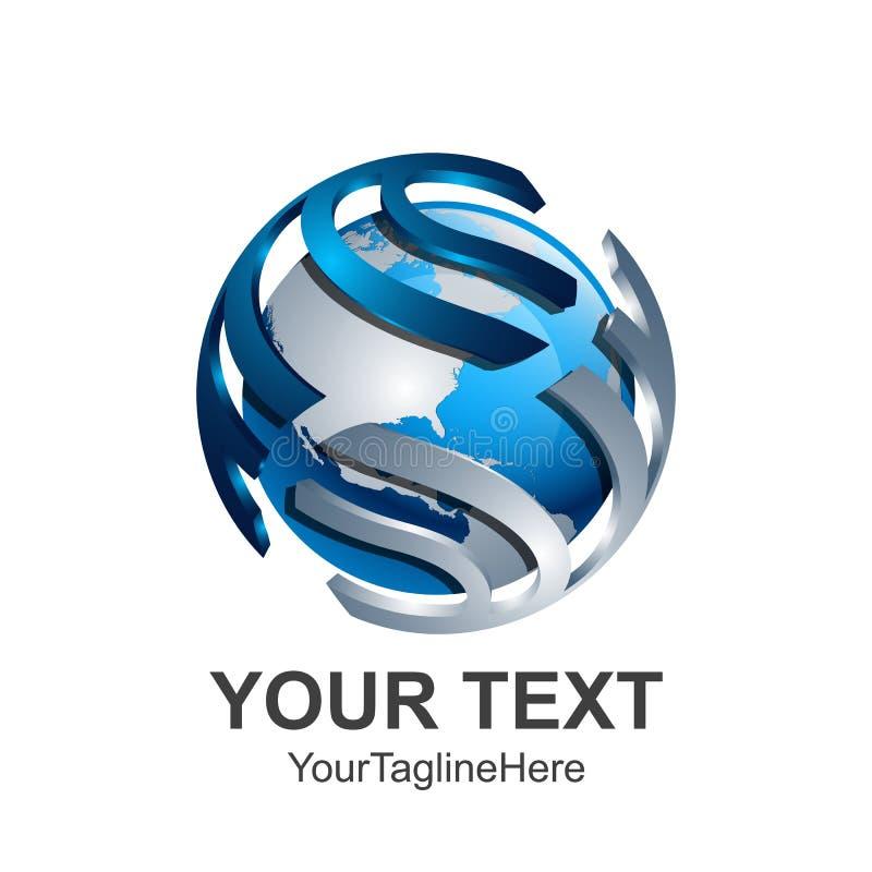 Templ creativo di progettazione di logo di vettore della terra del mondo della sfera dell'estratto 3d illustrazione vettoriale